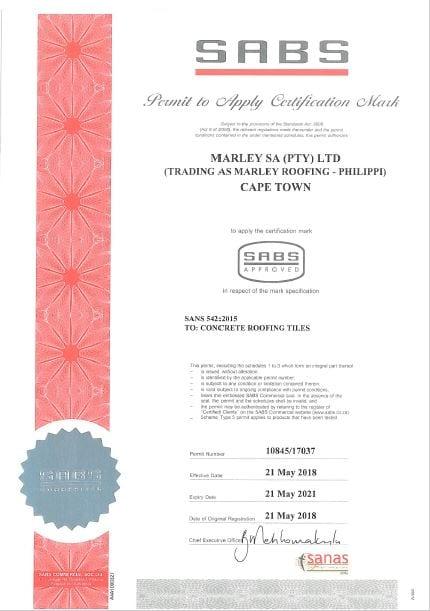 Cape Town Plant SABS Certificate