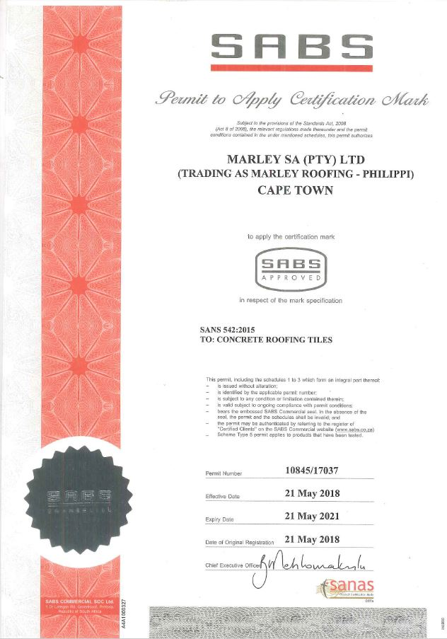Cape Town Plant SABS Certificate