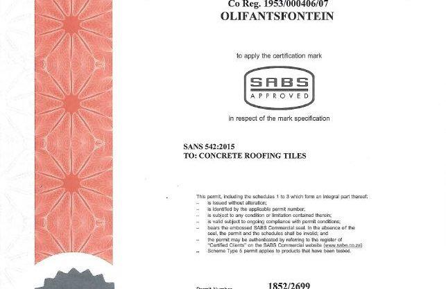 Olifantsfontein Plant SABS Certificate