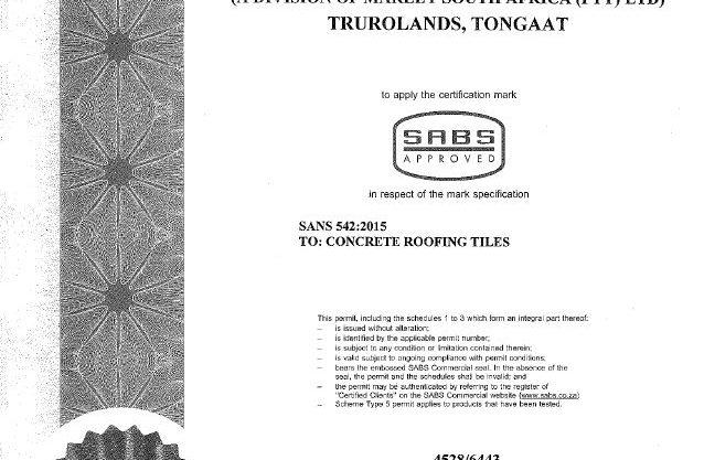 Togaat Plant SABS Certificate