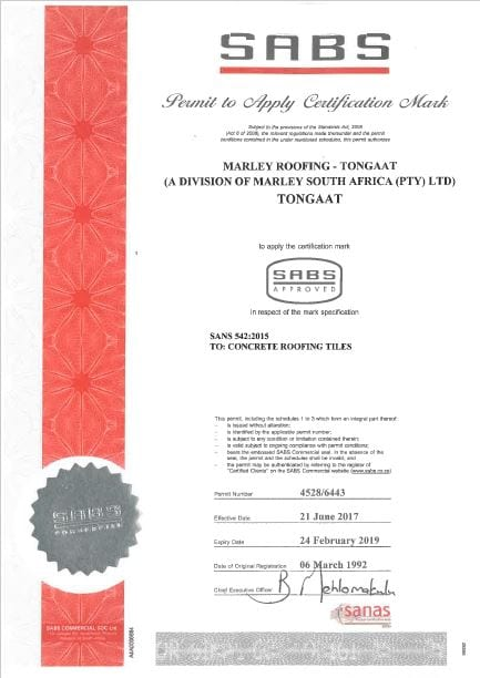 Togaat Plant SABS Certificate