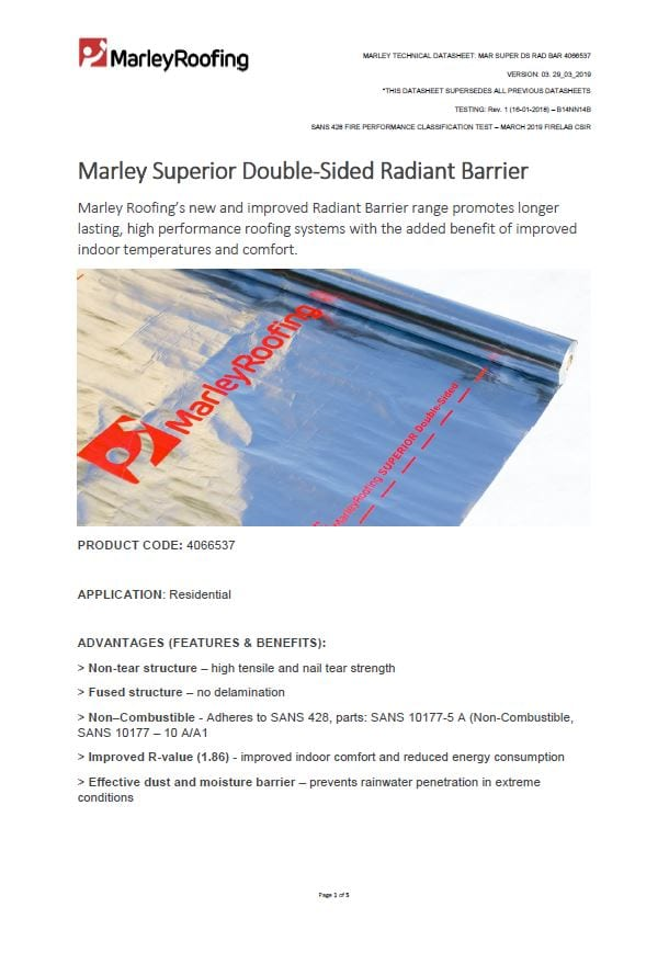 Marley superior double sided radiant barrier