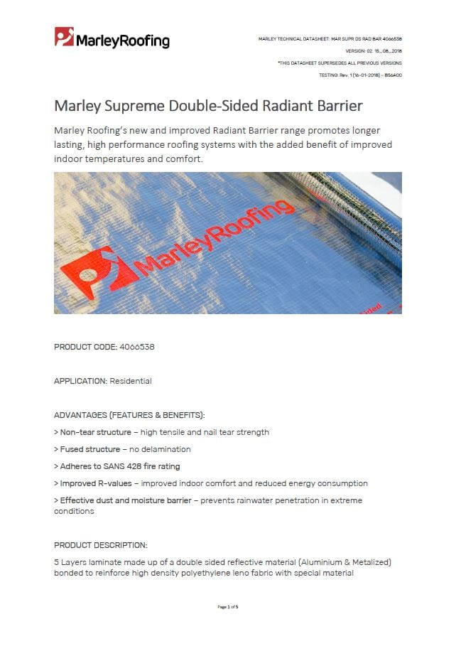 Marley supreme double sided radiant barrier