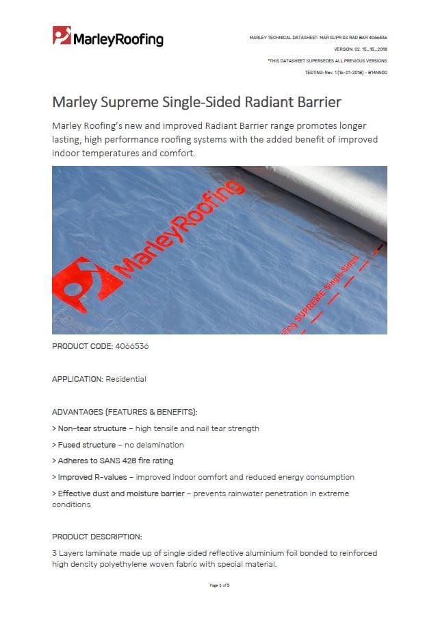Marley supreme single sided radiant barrier