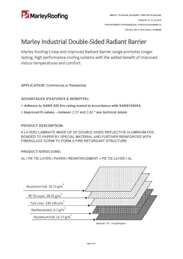 Marley Industrial Radiant Barrier Datasheet