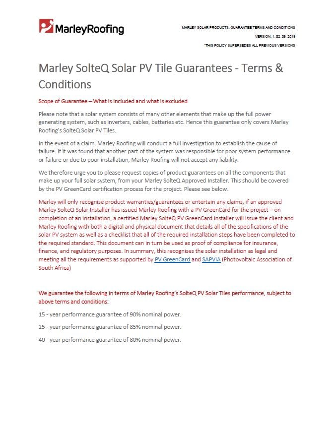 Solar Guarantees Terms and Conditions