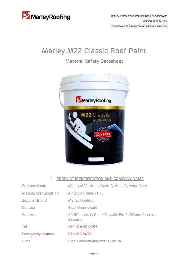 Marley M22 Material Safety Data Sheet