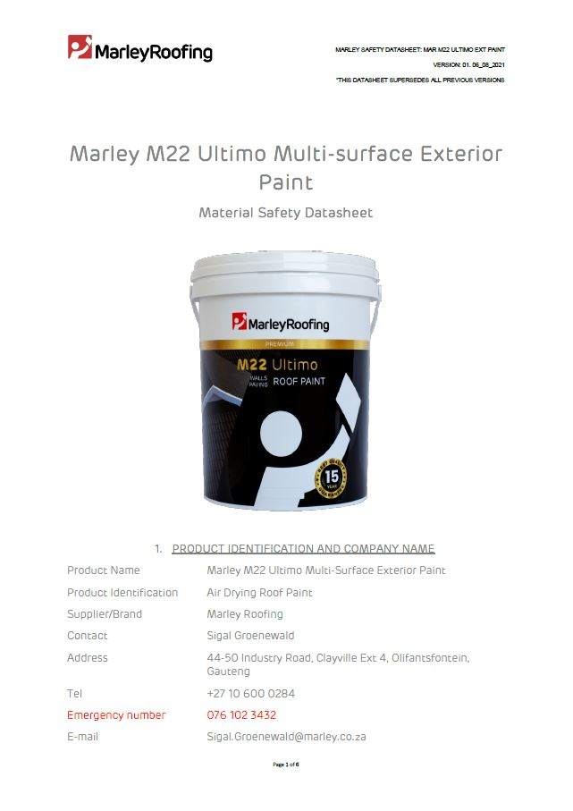 Marley M22 Ultimo Material Safety Data Sheet